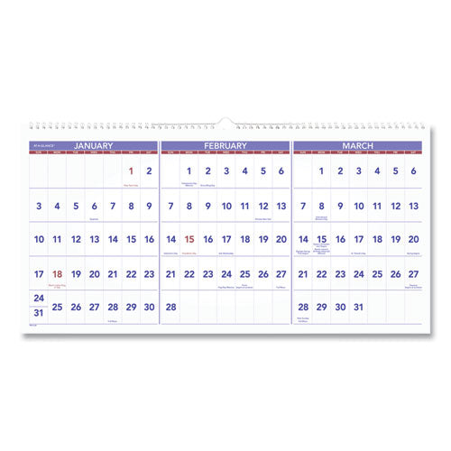 Horizontal-format Three-month Reference Wall Calendar, 24 X 12, 2021