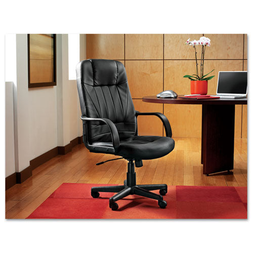 Sparis Executive High-back Swivel-tilt Leather Chair, Supports Up To 275 Lbs, Black Seat-black Back, Black Base