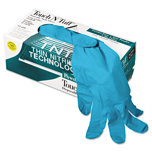 Touch N Tuff Nitrile Gloves, Teal, Size 8 1-2 - 9, 100-box