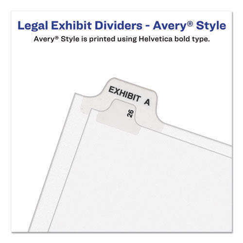 Preprinted Legal Exhibit Side Tab Index Dividers, Avery Style, 26-tab, A To Z, 11 X 8.5, White, 1 Set, (1400)