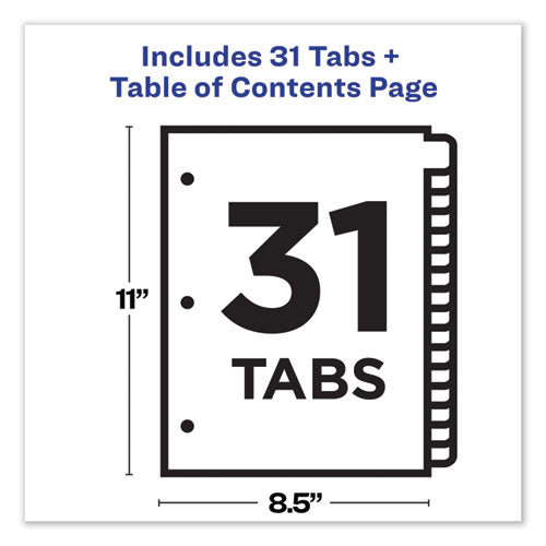 Customizable Table Of Contents Ready Index Dividers With Multicolor Tabs, 31-tab, 1 To 31, 11 X 8.5, White, 1 Set