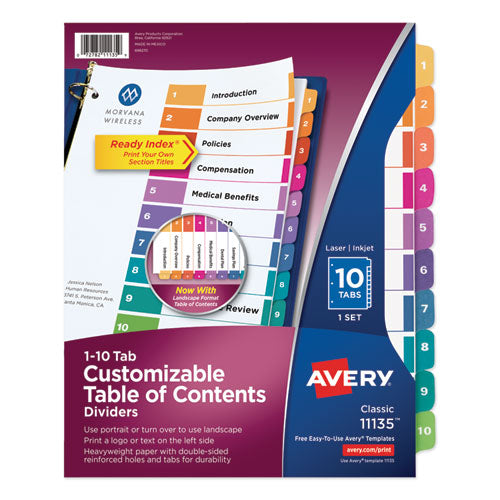 Customizable Toc Ready Index Multicolor Dividers, 10-tab, Letter
