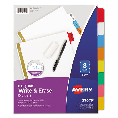 Write & Erase Big Tab Paper Dividers, 8-tab, White, Letter