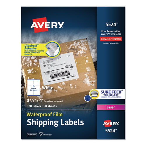 Waterproof Shipping Labels With Trueblock And Sure Feed, Laser Printers, 3.33 X 4, White, 6-sheet, 50 Sheets-pack