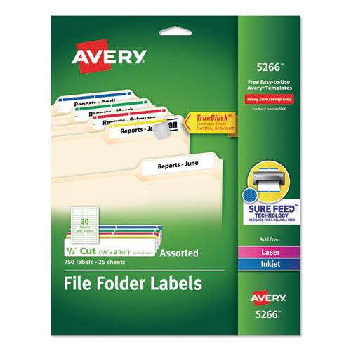 Permanent Trueblock File Folder Labels With Sure Feed Technology, 0.66 X 3.44, White, 30-sheet, 50 Sheets-box