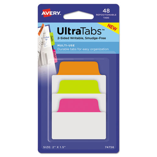 "Ultra Tabs Repositionable Standard Tabs, 1-5-cut Tabs, Assorted Neon, 2"" Wide, 48-pack"