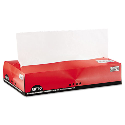 "Interfolded Dry Wax Deli Paper, 8"" X 10-3-4"", White, 500-box, 12 Boxes-carton"