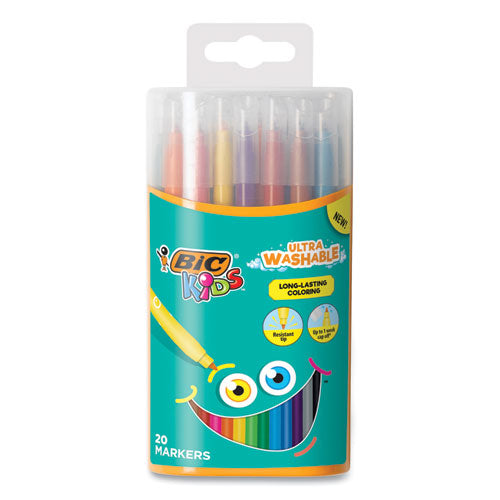 Kids Ultra Washable Markers In Plastic Tube, Medium Bullet Tip, Assorted Colors, 20-pack