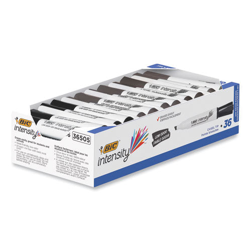 Intensity Low Odor Dry Erase Marker, Broad Chisel Tip, Black, 36-pack