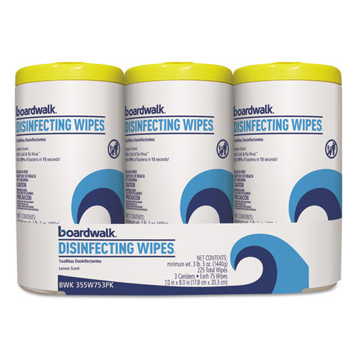 Disinfecting Wipes, 8 X 7, Lemon Scent, 75-canister, 3 Canisters-pack