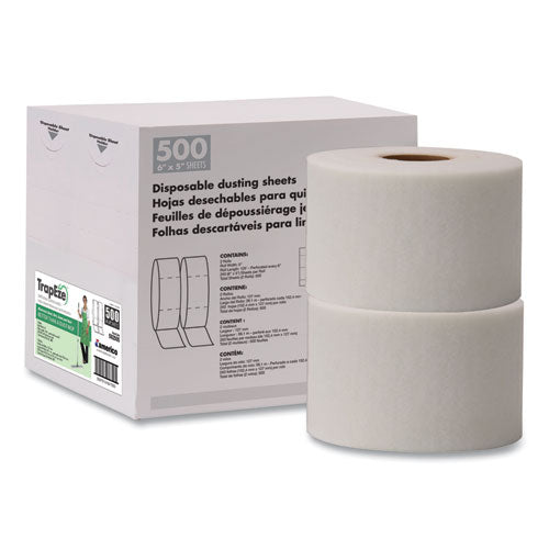 "Trapeze Disposable Dusting Sheets, 5"" X 125 Ft, White, 250 Sheets-roll, 2 Rolls-carton"
