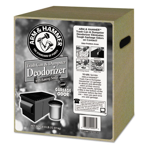 Trash Can & Dumpster Deodorizer With Baking Soda, Unscented, Powder, 30 Lb