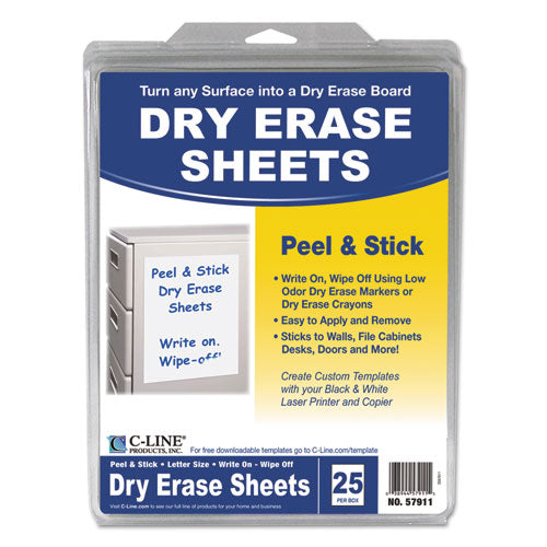 Peel And Stick Dry Erase Sheets, 8 1-2 X 11, White, 25 Sheets-box
