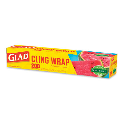 Clingwrap Plastic Wrap, 200 Square Foot Roll, Clear, 12-carton