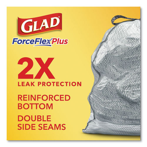 "Forceflexplus Odorshield Tall Kitchen Drawstring Trash Bags, 13 Gal, 0.9 Mil, 24"" X 28"", White, 204-carton"