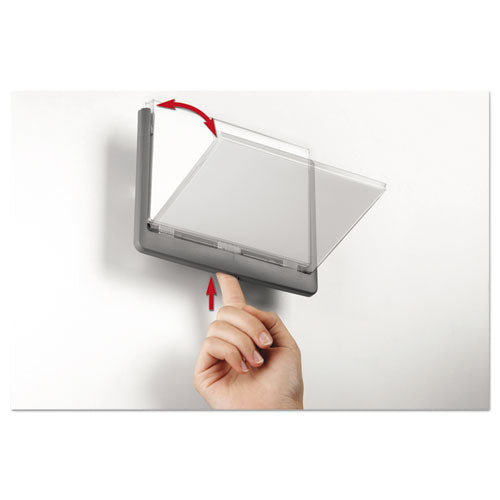 Click Sign Holder For Interior Walls, 6 3-4 X 5-8 X 5 1-8, Gray