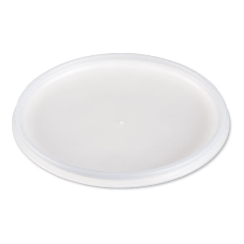 Plastic Lids For Foam Cups, Bowls And Containers, Flat, Vented, Fits 12-60 Oz, Translucent, 500-carton