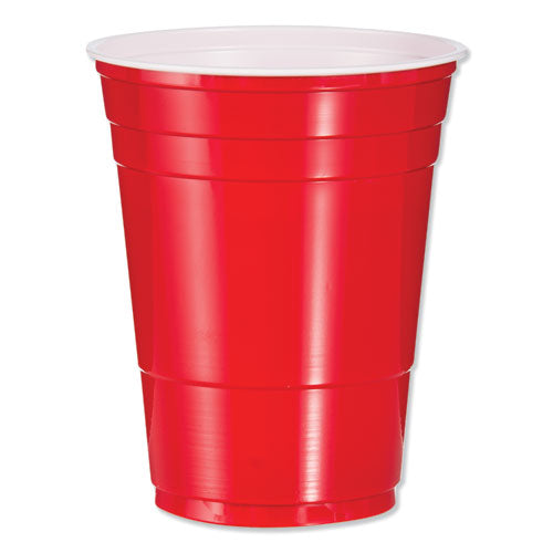 Solo Plastic Party Cold Cups, 16oz, Red, 50-bag, 20 Bags-carton