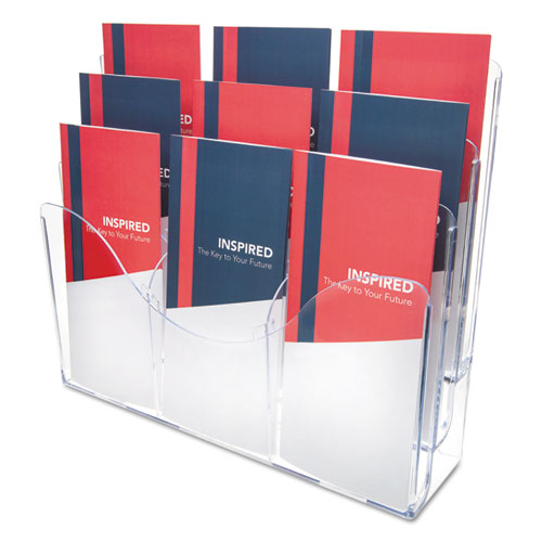3-tier Document Organizer W-6 Removable Dividers, 14w X 3.5d X 11.5h, Clear
