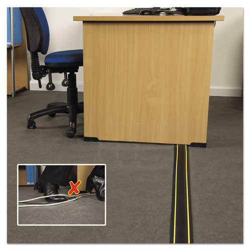 Medium-duty Floor Cable Cover, 3.25 X 0.5 X 6 Ft, Black With Yellow Stripe