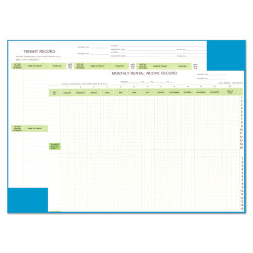 Rental Property Record Book, 8 1-2 X 11, 60-page Wirebound Book