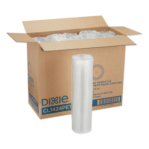 Cold Drink Cup Lids, Fits 16 Oz Plastic Cold Cups, Clear, 100-sleeve, 10 Sleeves-carton