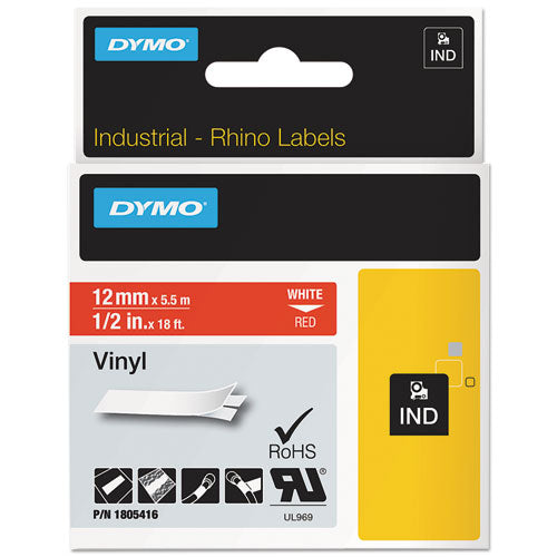 "Rhino Permanent Vinyl Industrial Label Tape, 0.5"" X 18 Ft, Red-white Print"