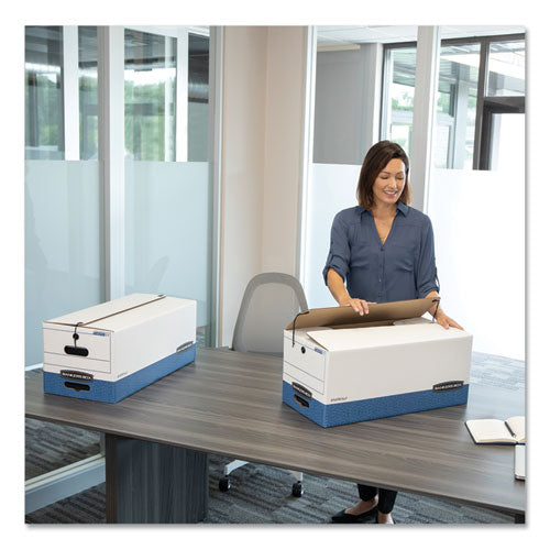 "Stor-file Medium-duty Strength Storage Boxes, Letter Files, 12.25"" X 24.13"" X 10.75"", White-blue, 4-carton"