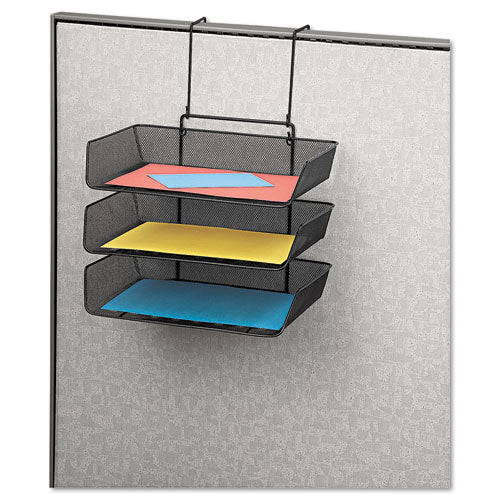 Mesh Partition Additions Three-tray Organizer, 11 1-8 X 14 X 14 3-4, Black