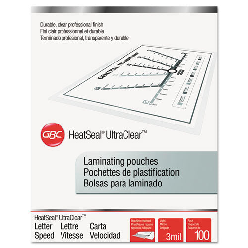 "Ultraclear Thermal Laminating Pouches, 3 Mil, 9"" X 11.5"", Gloss Clear, 100-box"