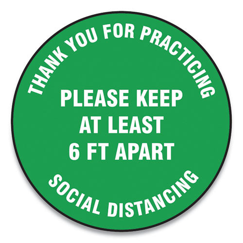 "Slip-gard Floor Signs, 12"" Circle, ""thank You For Practicing Social Distancing Please Keep At Least 6 Ft Apart"", Green, 25-pk"