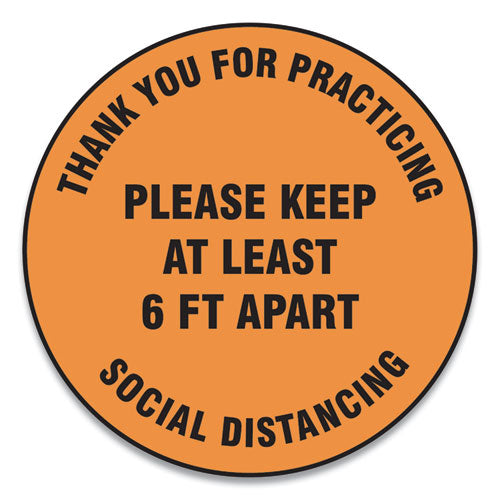 "Slip-gard Floor Signs, 17"" Circle,""thank You For Practicing Social Distancing Please Keep At Least 6 Ft Apart"", Orange, 25-pk"