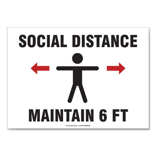"Social Distance Signs, Wall, 14 X 10, ""social Distance Maintain 6 Ft"", 3 Humans-arrows, White, 10-pack"