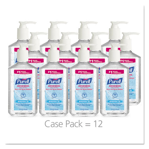Advanced Refreshing Gel Hand Sanitizer, Clean Scent, 12 Oz Pump Bottle