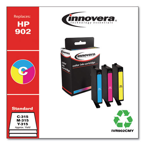 Remanufactured Cyan-magenta-yellow Ink, Replacement For Hp 902 (t0a38an), 315 Page-yield