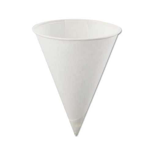 Rolled Rim, Poly Bagged Paper Cone Cups, 4oz, White, 5000-carton