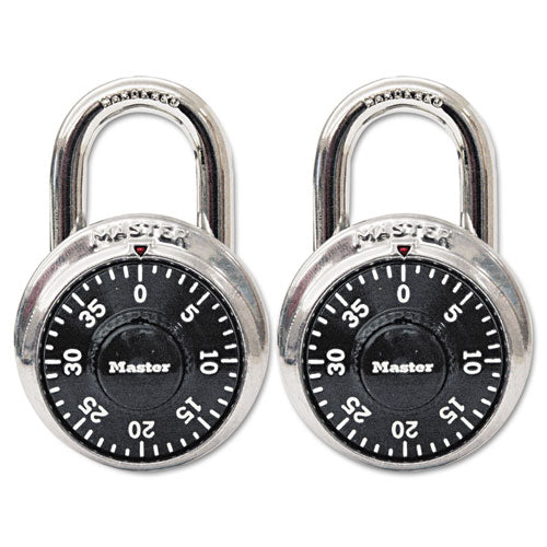 "Combination Lock, Stainless Steel, 1 7-8"" Wide, Black Dial, 2-pack"