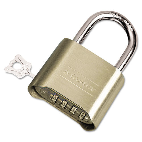 "Resettable Combination Padlock, Brass, 2"" Wide, Brass Color, 6-box"