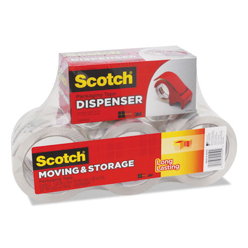 "Storage Tape With Dp300 Dispenser, 3"" Core, 1.88"" X 54.6 Yds, Clear, 6-pack"
