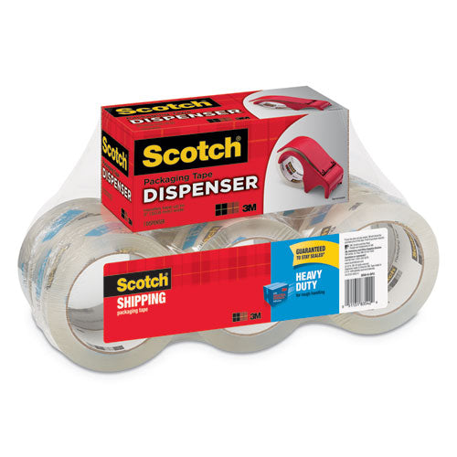 "3850 Heavy-duty Packaging Tape With Dp300 Dispenser, 3"" Core, 1.88"" X 54.6 Yds, Clear, 6-pack"