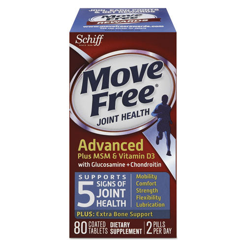 Move Free Advanced Plus Msm & Vitamin D3 Joint Health Tablet, 80 Count, 12-ctn