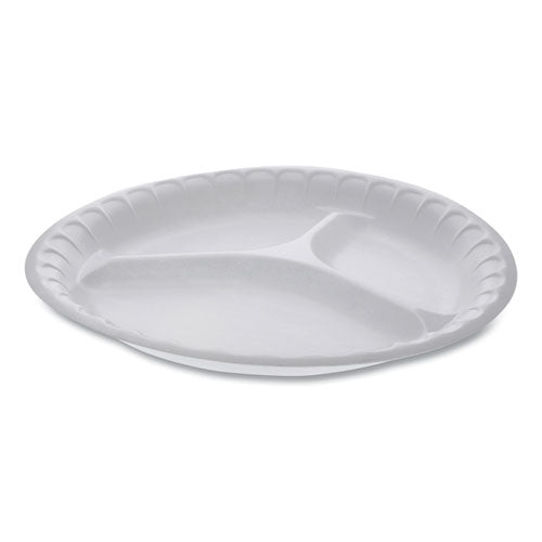 "Unlaminated Foam Dinnerware, 3-compartment Plate, 10.25"" Diameter, White, 540-carton"