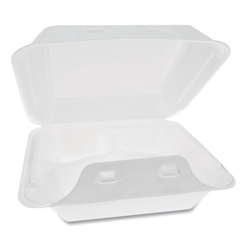 Smartlock Foam Hinged Containers, Medium, 8 X 8.5 X 3, 3-compartment, White, 150-carton