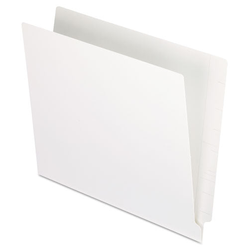 Colored End Tab Folders With Reinforced 2-ply Straight Cut Tabs, Letter Size, White, 100-box