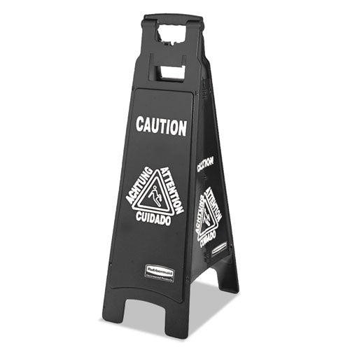 Executive 4-sided Multi-lingual Caution Sign, Black-white, 11 9-10 X 38