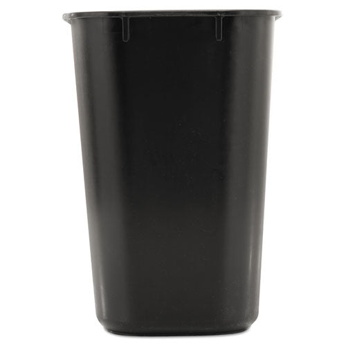 Deskside Plastic Wastebasket, Rectangular, 3.5 Gal, Black