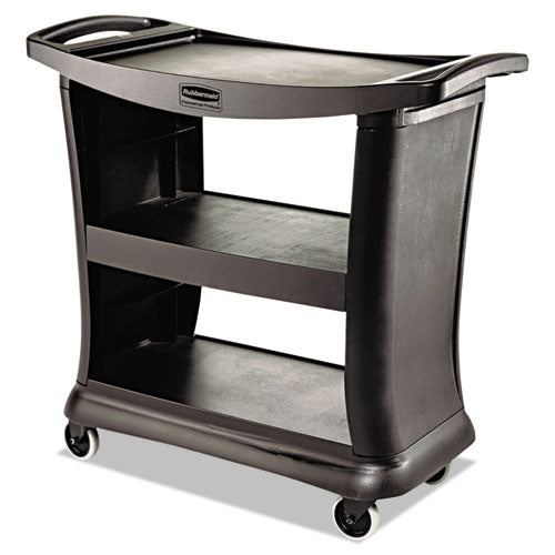 Executive Service Cart, Three-shelf, 20.33w X 38.9d X 38.9 H, Black