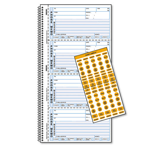 Wirebound Message Book, 5 X 2 3-4, Two-part Carbonless, 400 Forms, 120 Labels