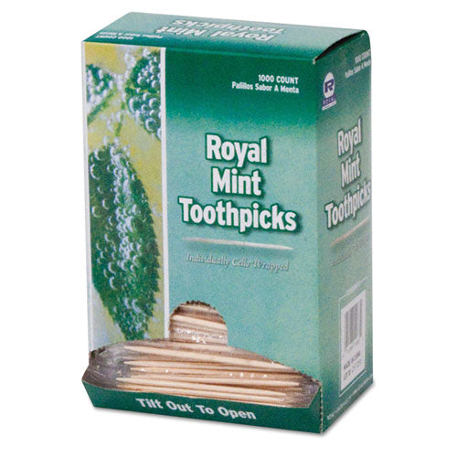 "Mint Cello-wrapped Wood Toothpicks, 2 1-2"", Natural, 1000-box, 15 Boxes-carton"