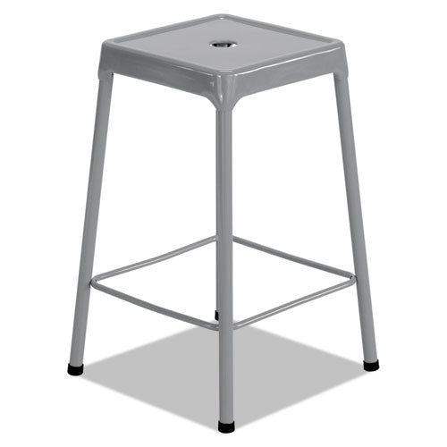 "Counter-height Steel Stool, 25"" Seat Height, Supports Up To 250 Lbs., Silver Seat-silver Back, Silver Base"